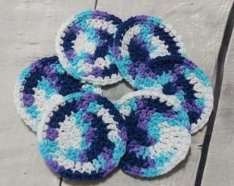 Face scrubbies - set of 6 - Large Crochet cotton scrubbies,  Makeup Removers,  Mini Washcloths, Eco-friendly, coasters
