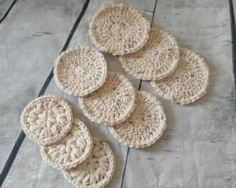 Face scrubbies - set of 9 - Crochet cotton scrubbies,  Makeup Removers,  Mini Washcloths, Eco-friendly