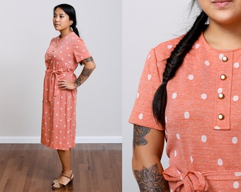 1960s Peach Belted Knit Vintage Shift Dress - Madmen - Midi - Polka Dot - House Dress • M