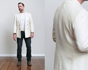 1980s John Henry Men's Cream Beige Tweed Summer Sports Coat - Double Breasted - Miami Vice - M/L