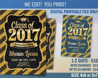 Graduation Invitation, Graduation Announcement, Class of 2017 Graduation Party Invitation, Digital File to Print