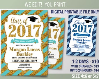 Graduation Invitation, Graduation Announcement, Class of 2017 Graduation Party Invitation, Digital File to Print, DIY