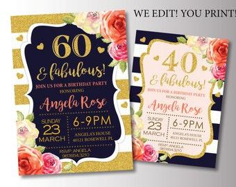 60th Birthday Party invitation. Navy and Gold Birthday Invitation. Glitter Birthday Invite. Printable Digital DIY Card