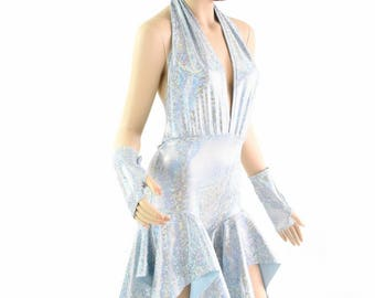 "Frostbite Shattered Glass ""Josie"" Backless Plunging Halter Pixie Romper with Fingerless Gloves 154373"