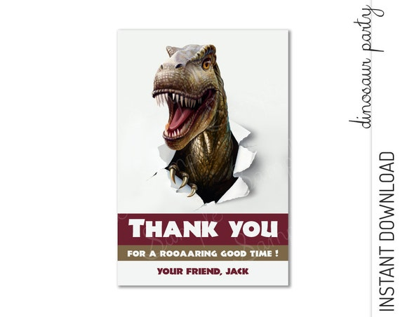 Dinosaur Thank You Card INSTANT DOWNLOAD