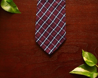 Red and Navy Plaid Wool Necktie with Microfiber Tip