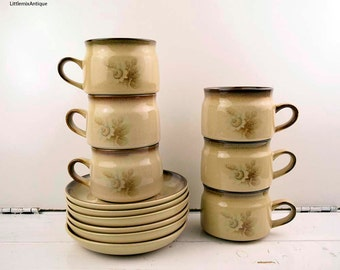 Vintage Denby Pottery England Handcrafted 'Memories' pattern Stoneware Tea/ Coffee Set Retro English Pottery Tableware