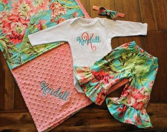 Baby Girl Coming Home Outfit With Blanket - Ruffle Pants - Monogrammed Bodysuit - With Headband & Bow - Aqua - Coral - Floral -