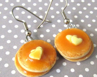 Pancake Dangle Earrings, Food Jewelry, Food Earrings, Miniature Pancakes, Flapjacks, Hot Cakes, Titanium Earrings or Stainless Steel