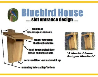 Ark Workshop Slot Bluebird House Birdhouse box proven for bluebird success & sparrow resistant