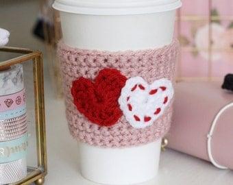 Coffee Cozy/ Coffee Sleeve | double hearts