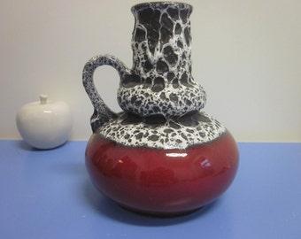Jopeko tall lava vase 60s 70s WGP lava glaze red white and black