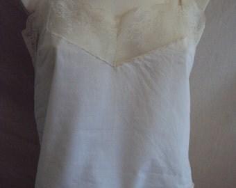 Vintage white cotton lace camisole top size 10