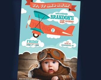Plane Invitation. Plane Birthday Invitation. Plane Party. Printable Invitation. Digital File.