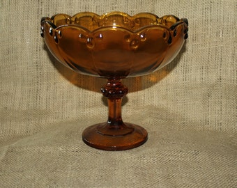 Gold Amber Teardrop Pedestal Bowl