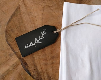 Chalkboard Tags: reusable blackboard hang tags, wood tags, black tags for table numbers, place cards, jar labels, price tags and packaging.