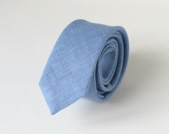 Dusk Blue Linen Necktie - Dusty Blue Linen Necktie - Blue shades Wedding Neckties - Groomsmen Neckties