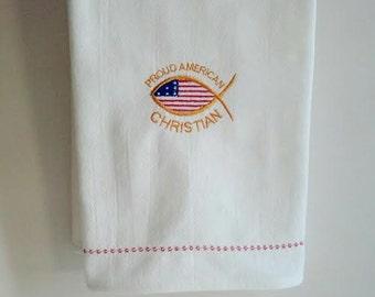 Patriotic Christian Dish Towel, Dish Cloth