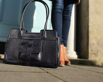 Leather Bag Navy / Navy Leather Handbag / Leather Messenger Bag / Leather Shoulder Bag / Leather Shoulder Handbag / Leather Tote Bag