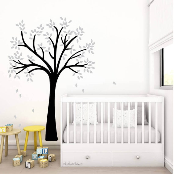 Vinilo decorativo little tree blanco y gris vinilo for Vinilo arbol infantil