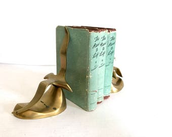 Mid Century Seagull Brass Bookends Vintage