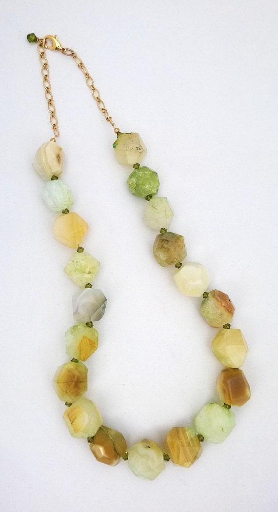 Agate Necklace, Green Agate Necklace, Green Necklace, Nugget Necklace