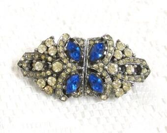 Art Deco Rhinestone Duette, Brooch, Dress Clips, Clear and Sapphire Blue Diamanté Crystals