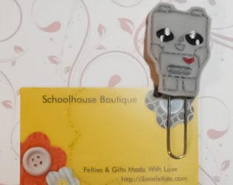 Cutie Robot felt planner paper clip