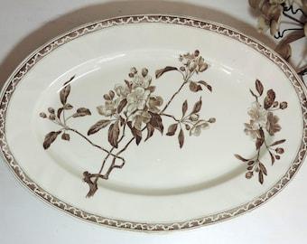 Antique Transferware Platter/ French Antique Creil Et Montereau Platter/Large Ironstone Platter/Brown Transferware Platter/Terre De Fer