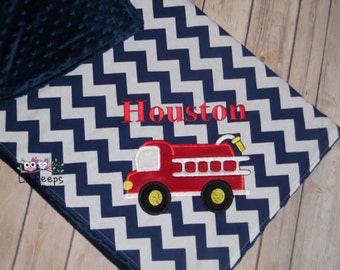 Fire Truck Blanket - Personalized Minky Baby Blanket with Embroidered Fire truck- Navy Blue Chevron