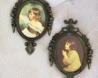 Oval Brass Frames, Italy, Girl in White Dress and Girl Praying