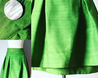 """Beautiful and Unique 1950's Pleated Skirt Green Shantung Fabric Double Layered Skirt 32"""" W"""