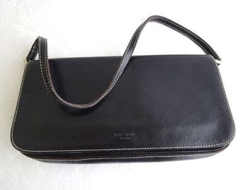 VIntage Kate Spade Handbag, Black Leather, Strap, Clutch, Made in Italy