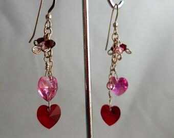 Two hearts crystal earrings