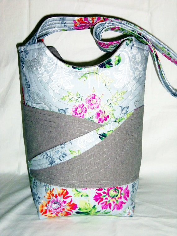 Floral Tote Bag Quilted Knitting Bag Grey and Pink Tote