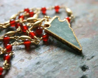 Long Pendant Necklace, Chalcedony Arrow and Carnelian Necklace, Gemstone Necklace, Gift for Her, Boho Chic, Statement, StudioAtPennyLane