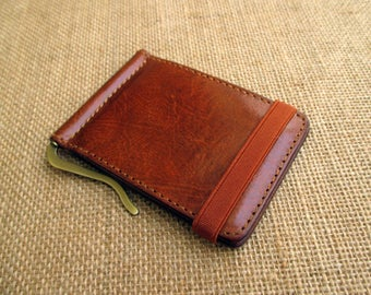 Leather money clip wallet, handmade minimalist wallet, thin wallet, slim wallet, with elastic band