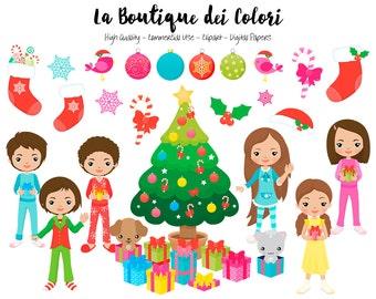 Navidad Navidad mañana Imágenes Prediseñadas, Linda digitales gráficos PNG, presenta, los niños abriendo regalos de Clip art, planificador de adhesivos de uso comercial