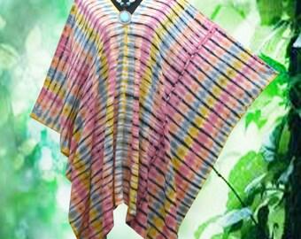 Japanese Shibori Tie dye Wearable Art V neck Poncho Tunic Top blouse