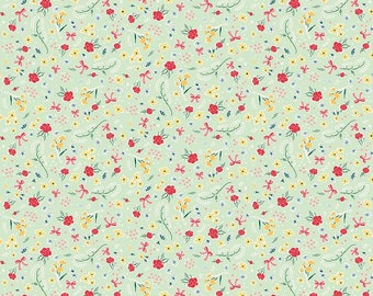 Bunnies and Cream - Roses Mint by Lauren Nash for Penny Rose Fabrics, 1/2 yard, C6022 Mint