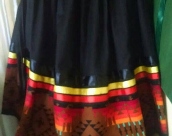 "Women's Full SKIRT  native american stomp dance ribbon skirt, fits all sizes, with adjustable waist, up to 60"". Size fits... L - 2XL."