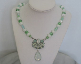 Sea green beaded necklace