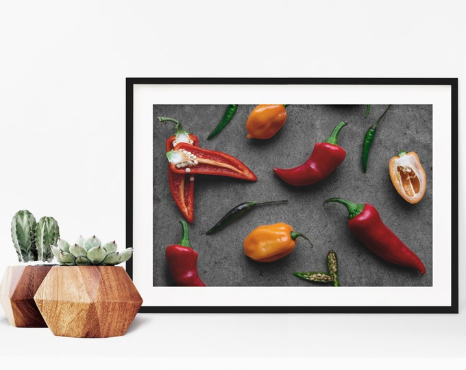 Featured listing image: peppers v. two // food photography print // kitchen decor // kitchen wall art  // dining room wall art // rustic wall art // chili peppers