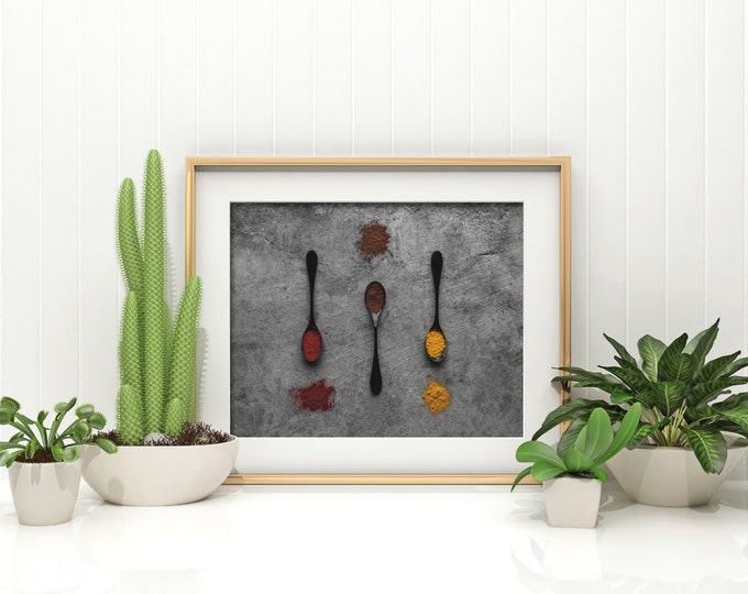 Featured listing image: spices v. two // food photography print // kitchen decor // kitchen wall art  // dining room wall art // rustic wall art // spoons