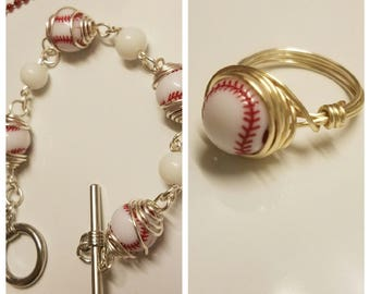 Baseball caged bead bracelet/ring set
