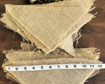 63 Burlap Triangles for signs. with Yarn/Wedding Decor