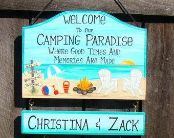 Custom Welcome to our  Camping Paradise  Beach Sign Home Yard Summer Camp Sign  Campfire Personalized Signs  with your Name