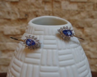 Natural Tanzanite cuff in Sterling Silver with CZ