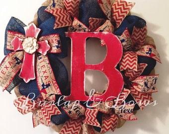 Burlap wreath, texas wreath, spring wreath, summer wreath