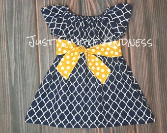 Girls Dresses, Girls Fall Dress, Girls Navy Dress, Girls Lattice Dress, Girls Quarefoil Dress, Girls Navy Dress, Girls' Clothing, Summer